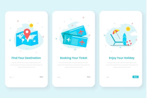Podróżny Zestaw Interfejsu Użytkownika Z Ekranem Wbudowanym Do Aplikacji Mobilnej Premium Wektorów