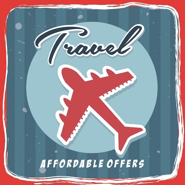 Podróżować po całym świecie na czerwonym tle ilustracji wektorowych Premium Wektorów