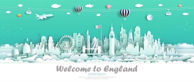 Podróżować po słynnej londyńskiej anglii europa w centrum kraju na wyspie. Premium Wektorów