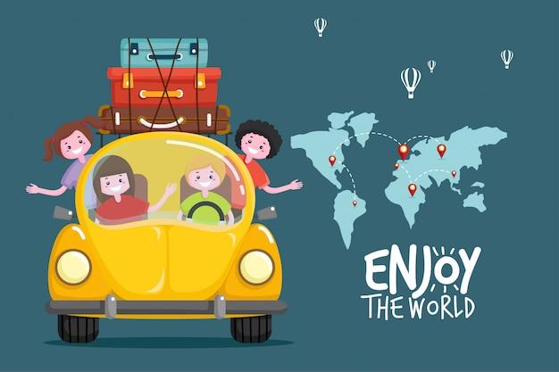 Podróżować samochodem. podróż po świecie. planowanie wakacji letnich. motyw turystyki i wakacji. Premium Wektorów