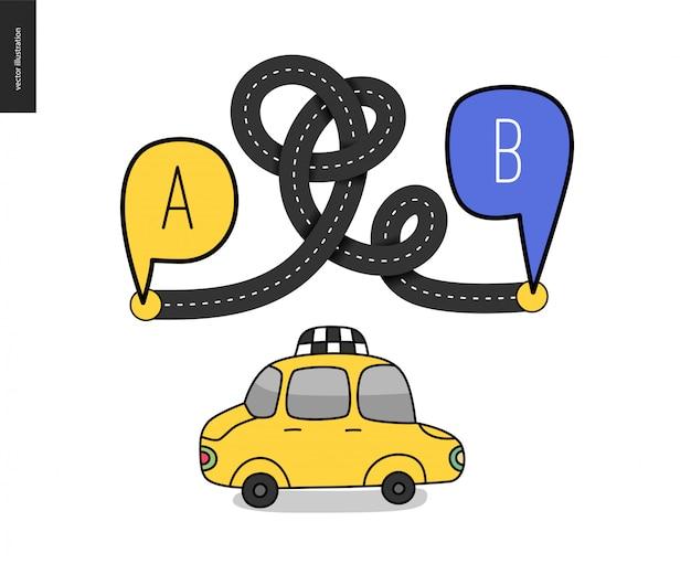 Podróżowanie z punktu a do punktu b Premium Wektorów