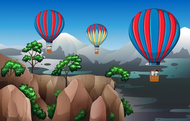 Podróżuj balonem na gorące powietrze Darmowych Wektorów
