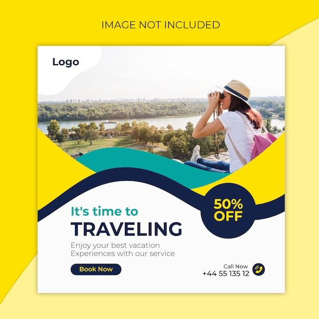 Podróżuj do szablonu posta na instagramie lub do kwadratowych banerów i biur podróży Premium Wektorów