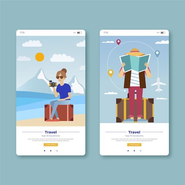 Podróżuj I Rób Zdjęcia Na Ekranach Aplikacji Mobilnych Darmowych Wektorów