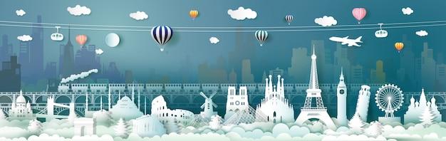 Podróżuj po europie światowymi atrakcjami z kolejką linową Premium Wektorów
