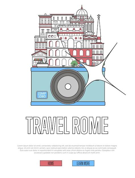 Podróżuj po rzymie za pomocą aparatu Premium Wektorów