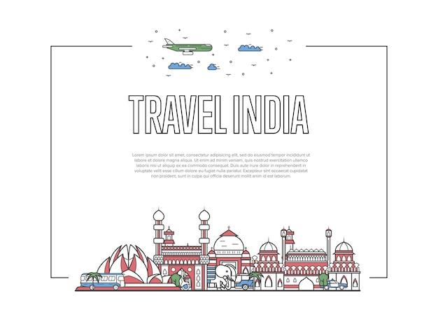 Podróżuj Po Stronie Indii W Stylu Liniowym Premium Wektorów
