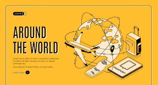 Podróżuj Po świecie Izometrycznej Strony Docelowej Darmowych Wektorów