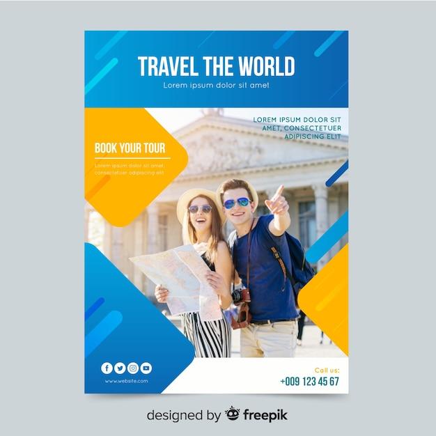 Podróżuj Po świecie Plakat Darmowych Wektorów