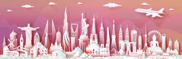 Podróżuj Po świecie Z Nowoczesnymi Ważnymi Zabytkami Architektury świata. Premium Wektorów