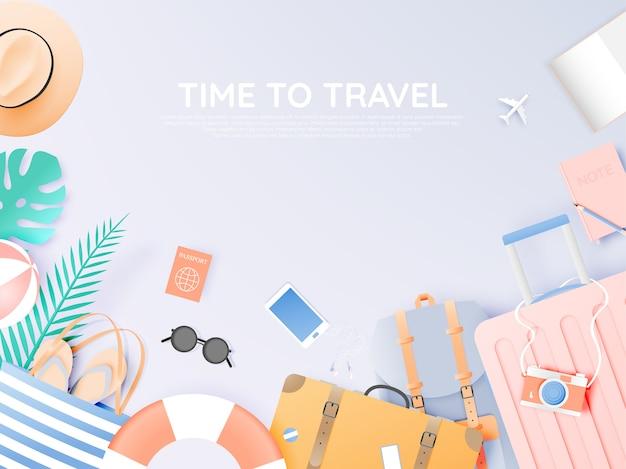Podróżuj różnymi przedmiotami w stylu sztuki papierowej Premium Wektorów