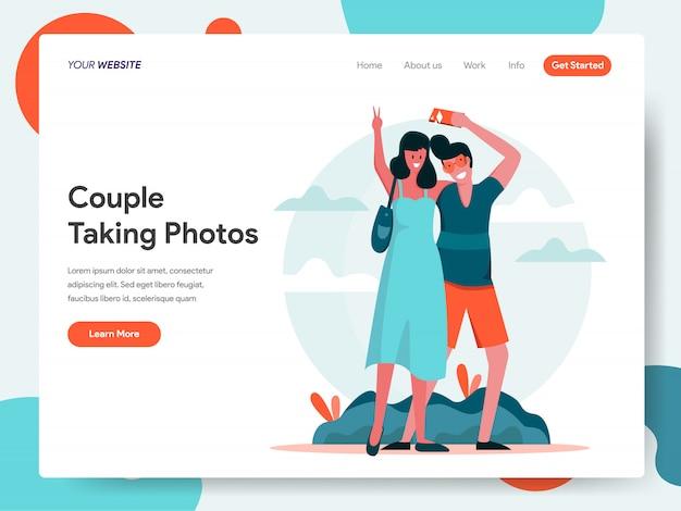 Podróżująca para bierze fotografie wpólnie sztandar dla strony docelowej Premium Wektorów