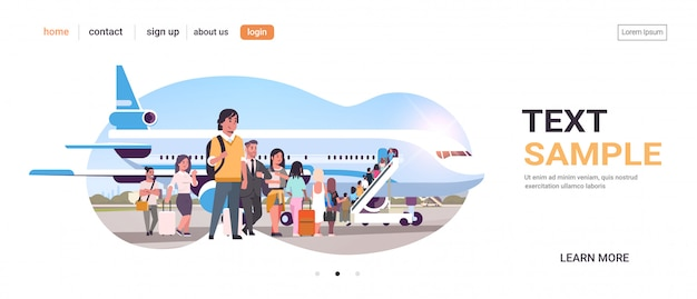 Podróżujący Z Bagażem Stojąca Linia Kolejka Idzie Do Samolotu Pasażerów Wspinających Się Po Drabinie Na Pokład Samolotu Na Pokład Podróży Koncepcja Kopia Przestrzeń Premium Wektorów