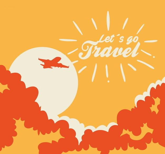 Podróżuje Ilustrację Z Samolotowym Lataniem Darmowych Wektorów