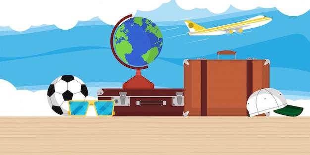 Podróżuje Ilustracyjnego Tło Z Kulą Ziemską, Samolotem, Torbą I Chmurami. Płaski Samolot Turystyka Wakacje świat Wycieczka. Karta Wycieczkowa Sztandar Przygoda Lato Premium Wektorów