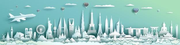 Podróżuje Punkt Zwrotny Architektury świat Z Turkusowym Tłem. Premium Wektorów