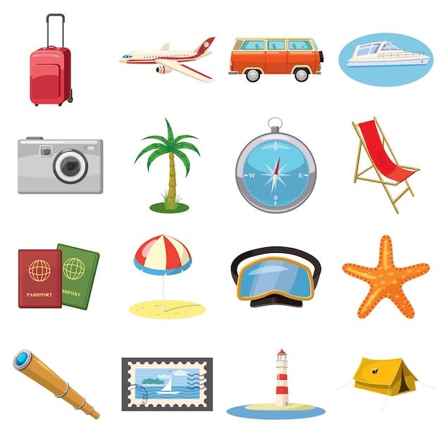 Podróży ikony ustawiać w kreskówka stylu odizolowywającym Premium Wektorów