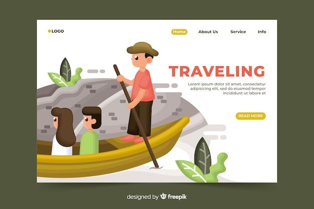 Podróży lądowania strona z ilustracją Darmowych Wektorów