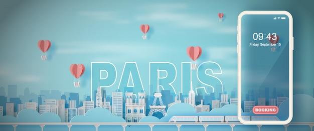 Podróży wakacje wieża eiffla paryż miasto francja Premium Wektorów