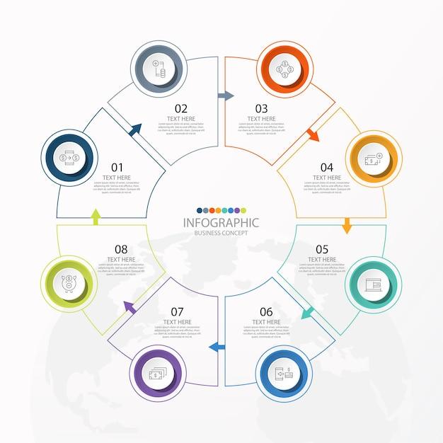 Podstawowy Szablon Infografiki Koła Z 8 Krokami, Procesem Lub Opcjami, Wykresem Procesu, Premium Wektorów