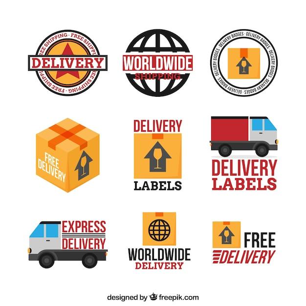 Podstawowy zestaw etykiet dostawczych Darmowych Wektorów