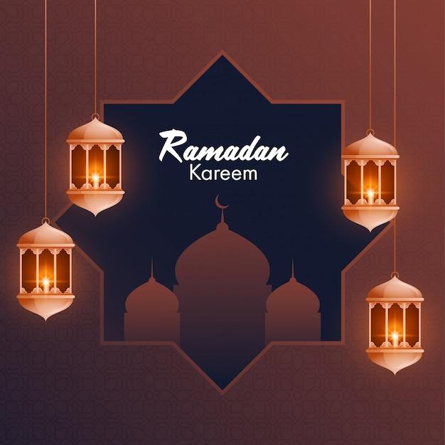 Podświetlane Latarnie I Piękny Meczet Na Brązowym Tle Dla Islamskiego świętego Miesiąca Modlitw, Premium Wektorów