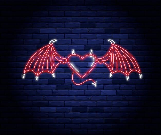 Podświetlane Neonowe Serce Ze Skrzydłami, Ogonem I Rogami Diabła Premium Wektorów