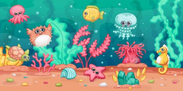 Podwodna Scena Z Dennymi Zwierzętami I Roślinami, Kreskówki Kawai Ilustracja. Premium Wektorów