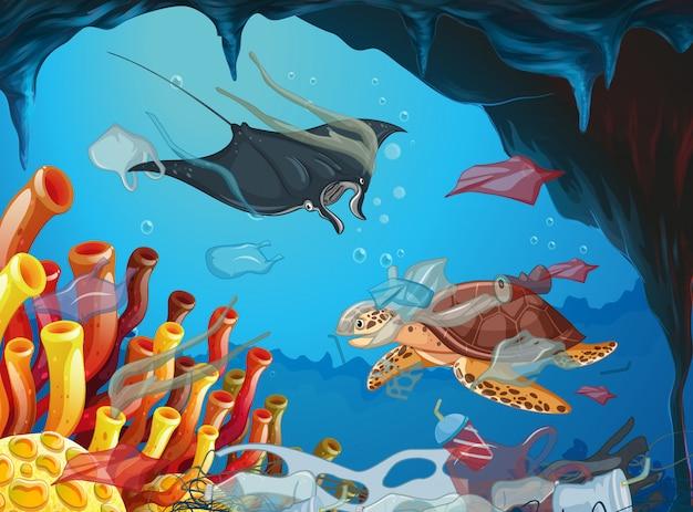 Podwodna Scena Ze Zwierzętami I śmieciami Darmowych Wektorów