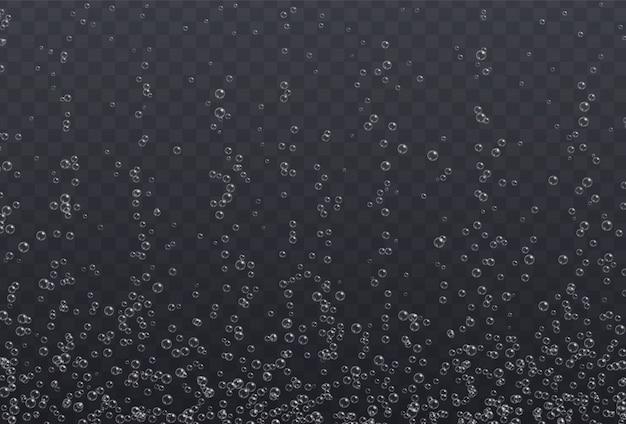 Podwodne Musujące Pęcherzyki Tekstury Na Przezroczystym Tle. Musujące Bąbelki Powietrza, Efekt Błyszczy Tlenu, Napój Gazowany Lub Szampan. Premium Wektorów