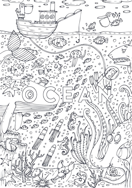 Podwodne życie Morskie Rysowane W Stylu Sztuki Linii. Projekt Strony Książki Do Kolorowania. Ilustracji Wektorowych Premium Wektorów