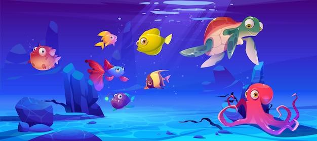 Podwodny Krajobraz Ze Zwierzętami Morskimi Darmowych Wektorów