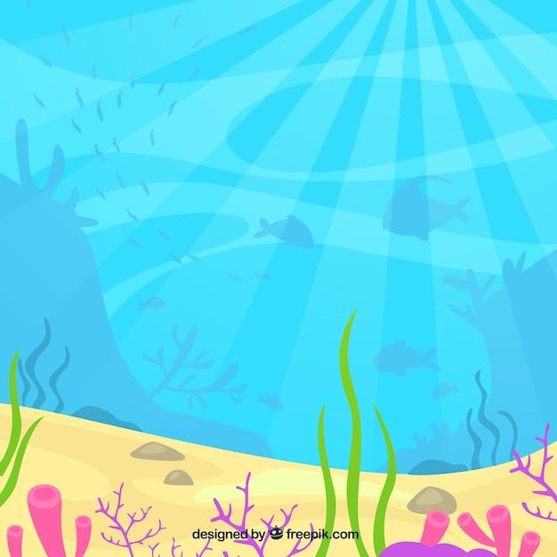 Podwodny Tło Z Nadwodnymi Zwierzętami Premium Wektorów