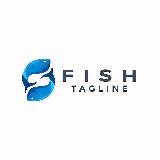 Podwójne Logo Kolorowe Ryby Premium Wektorów