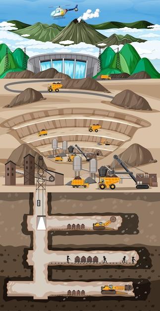 Podziemny Krajobraz Wydobycia Węgla Darmowych Wektorów