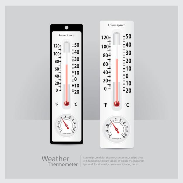 Pogoda Termometr Na Białym Tle Wektorowej Premium Wektorów