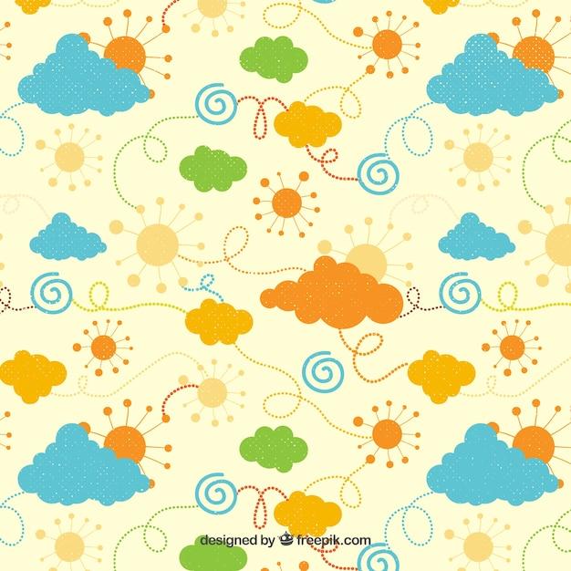 Pogoda w kolorowy wzór stylu Darmowych Wektorów