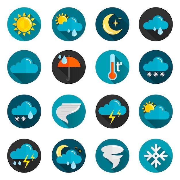 Pogoda zestaw ikon płaski Premium Wektorów