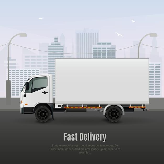 Pojazd ciężarowy do realistycznej kompozycji szybkiej dostawy Darmowych Wektorów