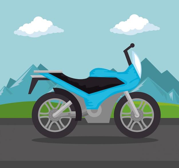 Pojazd motocyklowy w scenie drogowej Darmowych Wektorów