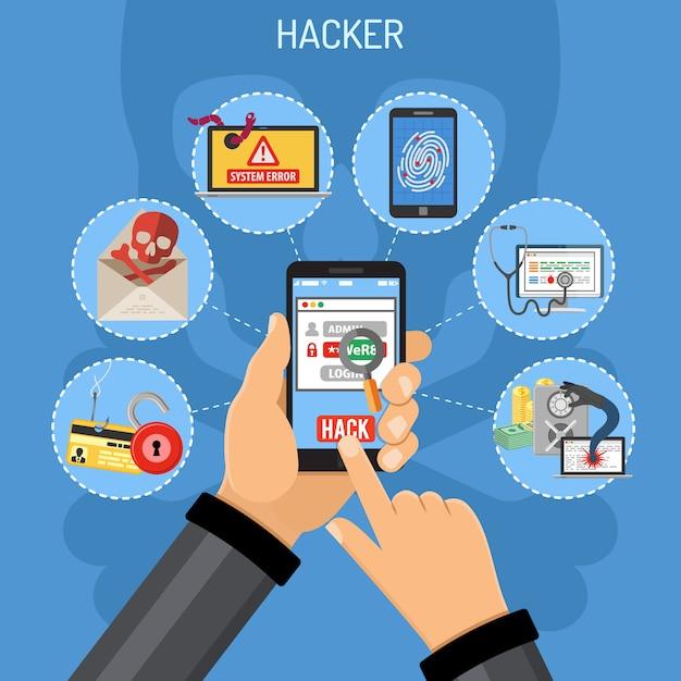 Pojęcie Cyberprzestępczości Z Hakerem Premium Wektorów