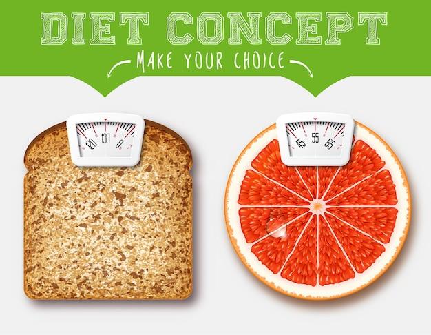 Pojęcie Diety. żywność Z Wagą Do Wagi Premium Wektorów