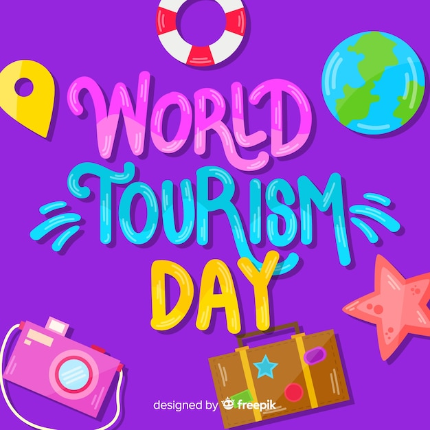 Pojęcie Dnia Turystyki Z Napisem Darmowych Wektorów