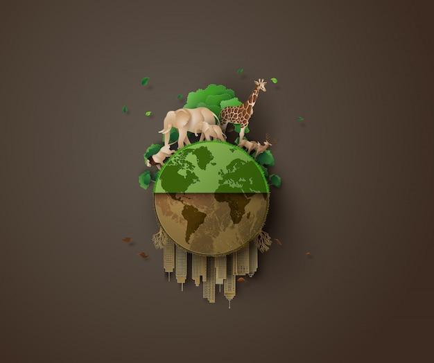 Pojęcie Ekologii I Zwierząt. Premium Wektorów