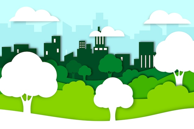 Pojęcie Ekologii W Stylu Papieru Z Drzew Darmowych Wektorów