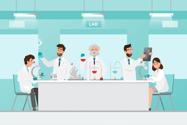 Pojęcie Medyczne. Naukowcy Mężczyzna I Kobieta Badania W Laboratorium Laboratoryjnym Premium Wektorów