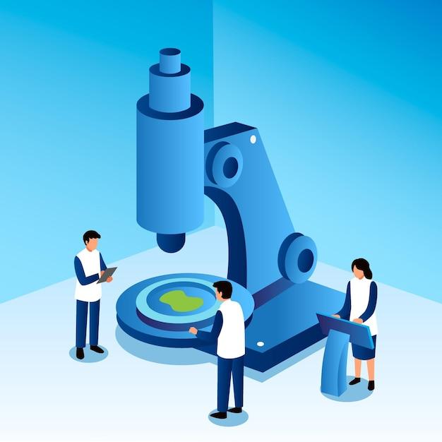 Pojęcie Nauki Z Mikroskopem Darmowych Wektorów