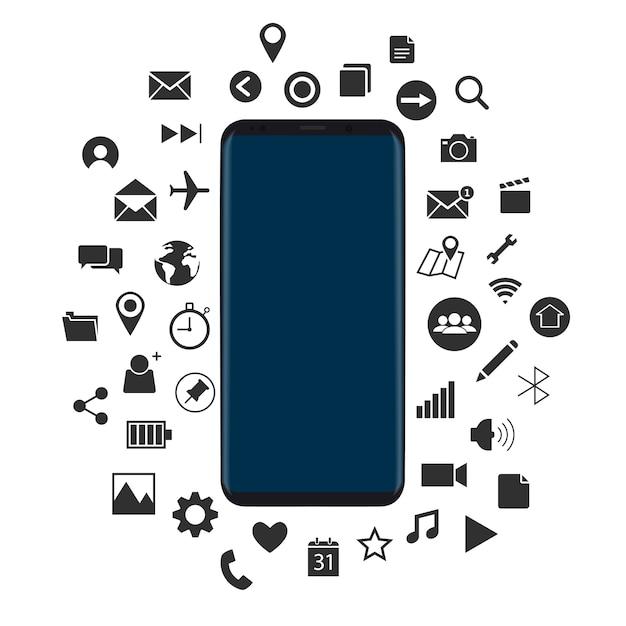 Pojęcie nowe smartphone z czarnymi ikonami vector Darmowych Wektorów