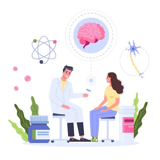 Pojęcie Opieki Zdrowotnej, Idea Lekarza Dbającego O Zdrowie Pacjenta. Pacjentka Na Konsultacji Z Neurologiem. Leczenie I Powrót Do Zdrowia. Ilustracja Premium Wektorów