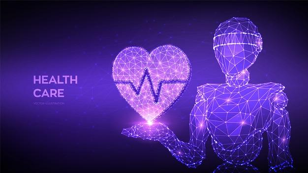 Pojęcie Opieki Zdrowotnej, Medycyny I Kardiologii. Streszczenie 3d Niskiej Wielokąta Robota Trzymając Ikonę Serca Z Linii Bicia Serca W Ręku. Premium Wektorów